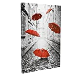 DongLin art- Romance Red Umbrella Flying on The Rain, Giclee Morden Landscape Wall Art, Framed Canvas Prints, Contemporary Pictures for Living Room (Size: 16×24inch/ 40×60cm)