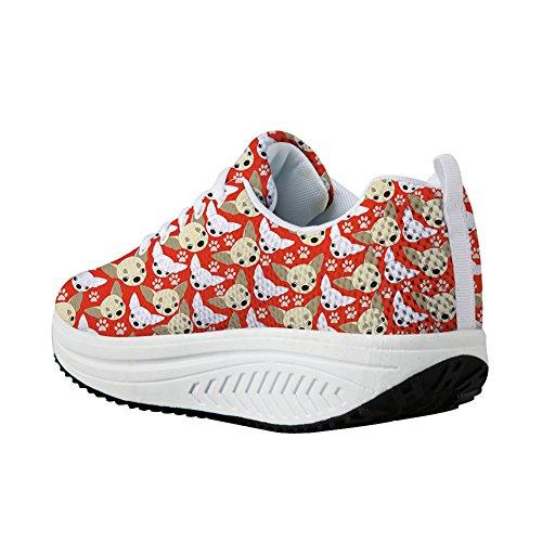 Walking Sliming Chihuahua Sneaker Shoes Bigcardesigns Orange Women's tqwPpggI