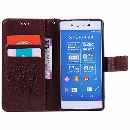 Custodia Sony Xperia Z3+ (Z3 Plus / Z4 / E6553) Cover Case, Ougger Alberi Gatto Printing Portafoglio PU Pelle Magnetico Stand Morbido Silicone Flip Bumper Protettivo Gomma Shell Borsa Custodie con Slo
