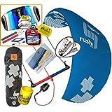 HQ HQ4 Rush V Pro 300 Kiteboarding Trainer Kite CXS Bundle : (5 Items) Includes 2ND Kite : CX 1.5M Foil Control Strap Kite + WindBone Kiteboarding Lifestyle Decals + WBK Koozy Cooler + Key Chain