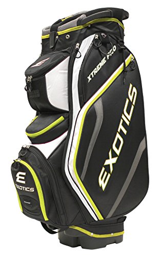 Tour Edge Exotics Extreme Pro Deluxe Cart Bag (Men's, Exotics Extreme Pro Deluxe Cart Bag Black/White/Electric Green) (Golf Tour Bag)