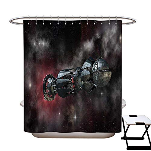 haommhome Galaxy Anti Bacterial Shower Curtain Liner Spacesh
