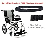 Karman Healthcare S-2512F18S-TP Ergo Flight Transport 18'' with swing away footrest and companion brakes & FREE Wheelchair Seatbelt!