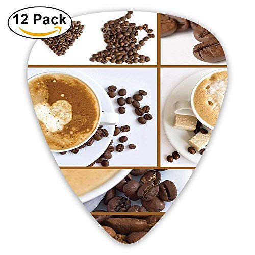 Coffee Themed Collage Of Beans Mugs Hot Foamy Drink With A Heart Macro Aroma Guitar Picks 12/Pack (Heart Foamies)
