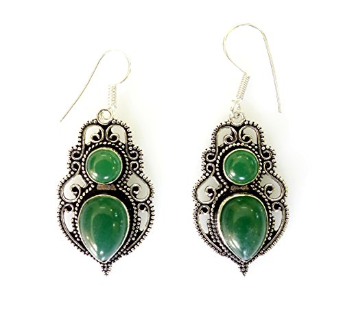 (Green onyx gemstone authentic gypsy tribal ethnic earrings for women oxidized silver unique gothic style drop dangle fine work handmade earrings by Tibetan silver)