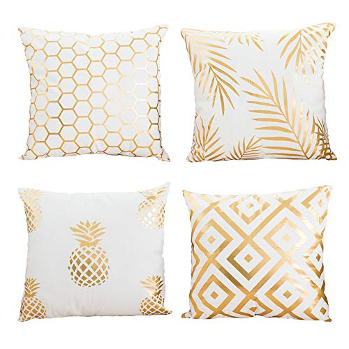 - AngJi Gold Foil Print Throw Pillow Covers Modern Decorative Soft cushion Covers for Bedroom, Living Room, Couch, 18