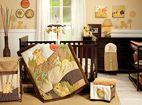 Disney Lion King Simba's Wild Adventure 7 Piece Nursery Crib Bedding Set, Appliqued Comforter, Sage, Orange, Brown, Ivory -