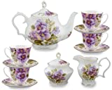 Gracie Bone China 11-Piece Tea Set, Purple Pansy