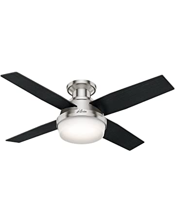 3d72c067fb2 Hunter 59243 Dempsey Low Profile With Light Brushed Nickel Ceiling Fan With  Light   Remote