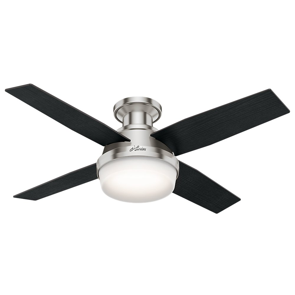 Hunter Indoor Low Profile Ceiling Fan with light and remote control – Dempsey 44 inch, Brushed Nickel, 59243