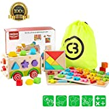 banks board - Wooden Shape Sorter Bus with Tangram & Number Puzzle Board & Alphabet Puzzle Board,Cool Bank Classic 3D Push Pull Truck Toy for Toddlers & Baby Color Recognition and Geometry Learning