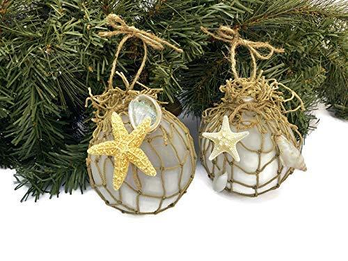 Amazon Com Coastal Beach Theme Christmas Ornament Decorations Set Of 2 Seashell And Starfish Ball Ornaments Handmade