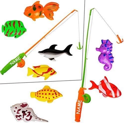 alles-meine.de GmbH 5 TLG. Set _ großes Magnet - Angelspiel - WASSERFEST - mit 4 großen Fischen & Tieren - inkl. Name - drehbare + magnetische Angel - für Kinder - Angeln - B..