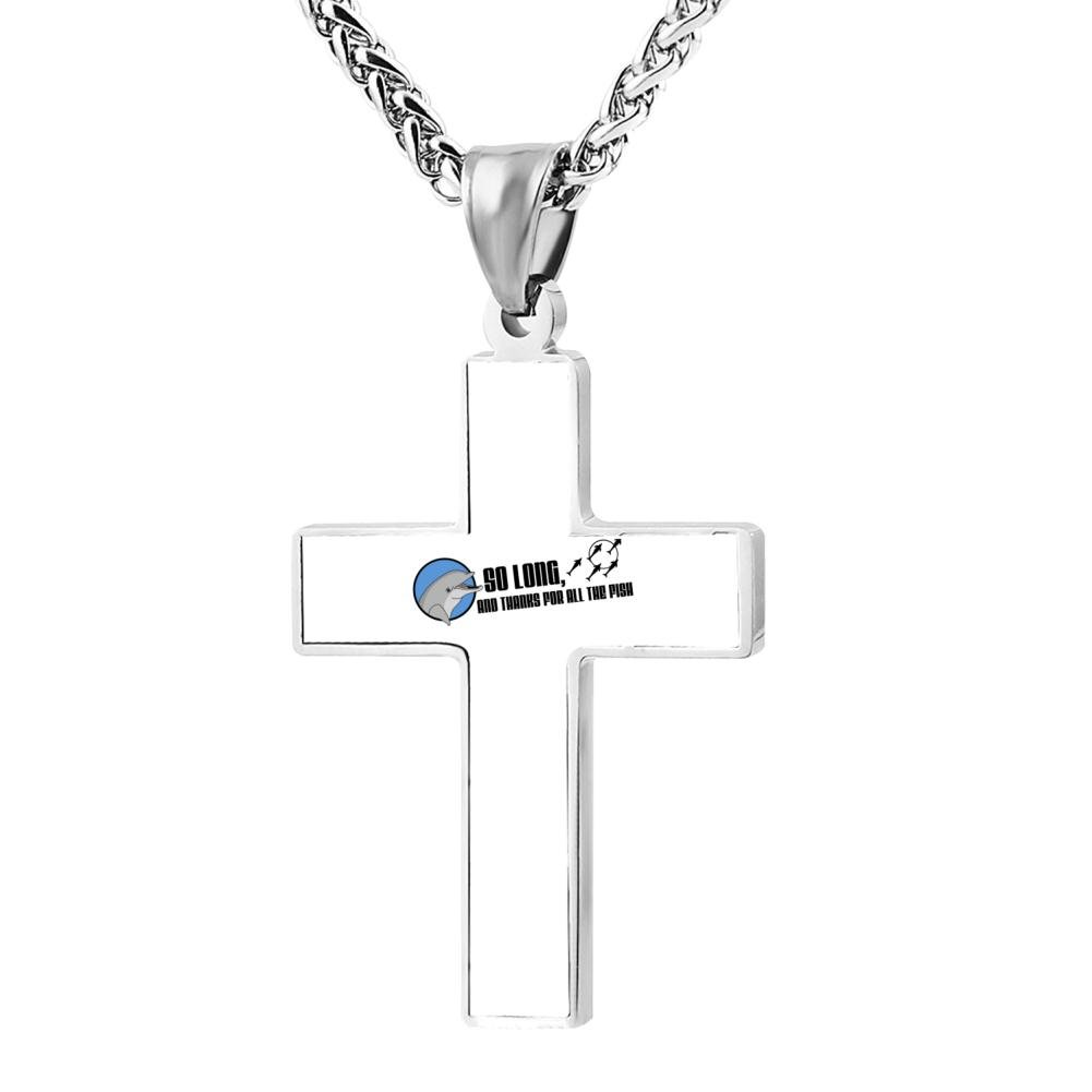 So Long and Thanks For All The Fish Cross Pendant 24 Inches Jewelry Zinc Alloy Chain Necklace for Men Women