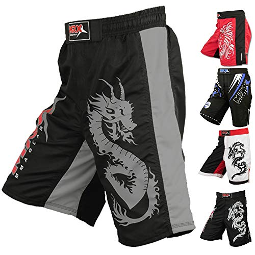MRX MMA Fight Shorts Men UFC Cage BJJ Fighting Sports Active Boxing Kickboxing Muay Thai Grappling Trunk (Grey - Medium) ()
