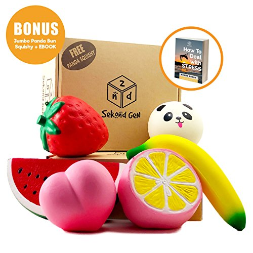 6PCS Slow Rising Jumbo Squishies Pack Gift Box | Fruit Squishies Peach Strawberry Banana Watermelon Pink Lemon | Squeeze Cream Scented Toys Stress Relief | 1 FREE Jumbo Kawaii Panda Bun + Bonus Ebook