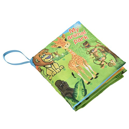 [Kids Early Learning Language Fabric Cloth Baby Books Learning Education Toy (Animal Park)] (Car Costume Cardboard Box)