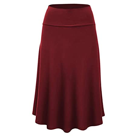 69e2eefde9 ZHRUI Women Plus Size Solid Flare Hem High Waist Midi Wrap Skirt (Color    Red