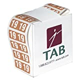 TAB 2 Digit Year Label, 2019, 1/2'' High, Brown, 500 Labels/Roll