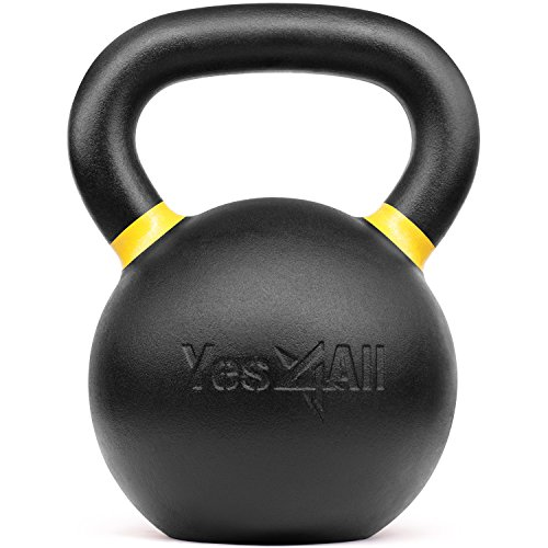 Yes4All Powder Coated Kettlebell Weights with Wide Handles & Flat Bottoms – 32kg/71lbs Cast Iron Kettlebells for Strength, Conditioning & Cross-Training by Yes4All (Image #2)