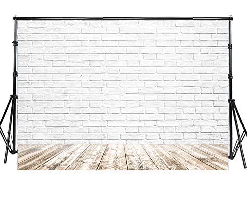 Sensfun 7x5ft 3D White Brick Wall Photography Backdrops Faux Wood Floor Photo Background for Wedding Happy Birthday Party Decor Kid Newborn Portrait Photobooth Banner Photo Studio Props (WP041)
