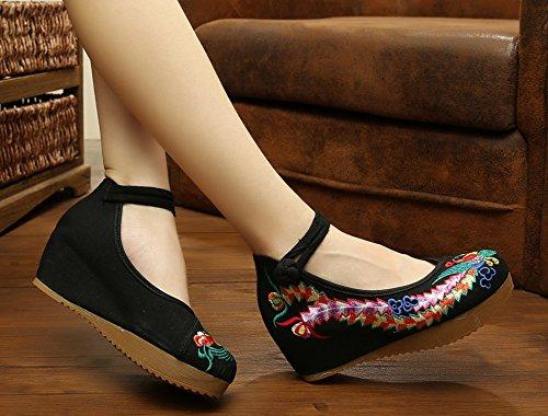 Icegrey Zapatos Bordados Hechos A Mano De Mary Jane De La Cuña De Phoenix De Las Mujeres Negro