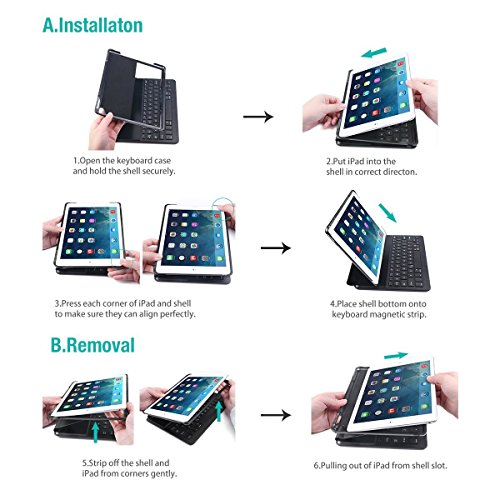LEVREA iPad Pro 10.5 Keyboard Case, Ultra-Thin Lightweight Bluetooth Keyboard with Magnetically Intelligent Switch and Multi-Angle for Apple iPad Pro 10.5 inch by LEVREA (Image #4)