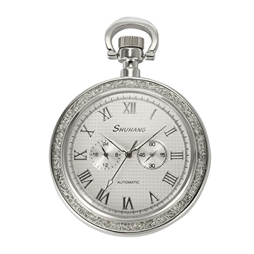 ManChDa Silver Open Face 2 Sub-Dail 24-Hour Small Second Hand Machanical Men Pocket Watch Roman Numerals by ManChDa