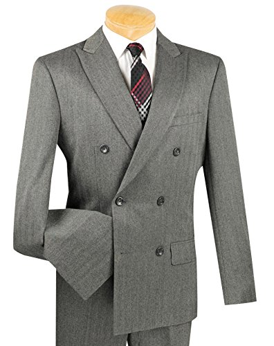 Vinci Men's Brushed Herringbone Striped Double Breasted 6 Button Slim-Fit Flannel Suit NEW [Color: Charcoal Gray | Size: 42 Regular / 36 Waist]