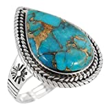 Sterling Silver Genuine Copper-Infused Matrix Turquoise Ring for Women (8)