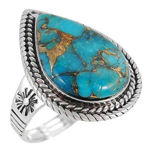 Sterling Silver Genuine Copper-Infused Matrix Turquoise Ring for Women (8) by Turquoise Network