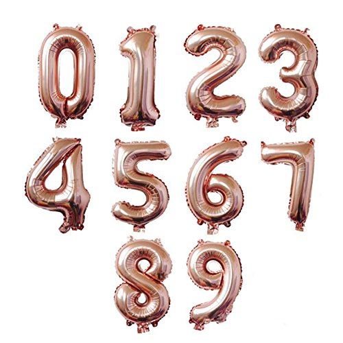 AnnoDeel 10 pcs 16inch Number Rose Gold Mylar Balloons, 0~9 Rose Gold Foil Balloons for Birthday Wedding Party Decorations Number Balloons