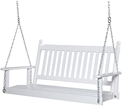 2-Person White Porch Swing