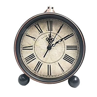 "5.5"" Retro Alarm Clock, Vintage Room Clock Home Déco Clock Desk Table Lamp Clocks with Ultra Mute Non Ticking Sweep Second Hand HD Glass Lens Battery Operated (50H27) - Desk Shelf Clocks Prime Deals Same Price! Attention:Require one AA zinc carbon battery (not included),Please do not use alkaline or rechargeable battery which will damage the clock movement,Brand new and good quality desk alarm clock Non ticking almost, not disturbing your sleep. Retro metal alarm clock, super loud alarm,very suitable for people who snooze This vintage alarm clock features a glass lens, easy to read,Metal case with vintage look. Can be hanged on the wall - clocks, bedroom-decor, bedroom - 51svLV9nJeL. SS400  -"