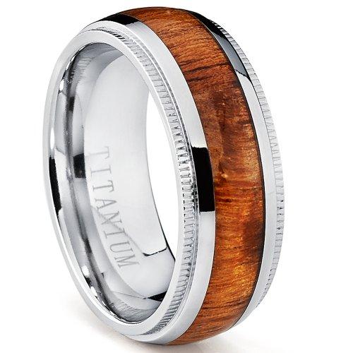 Titanium Wedding Band, Engagement Ring with Real Hawaiian Koa Rosewood Inlay, 8mm comfort fit SZ 10