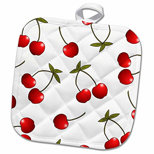 Cherry Pot (3D Rose Print Juicy Red Cherries on White Pot Holder, 8