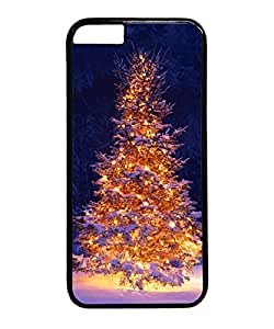 VUTTOO Iphone 6 Plus Case, Lit Christmas Tree in Snow PC Case Cover for Apple Iphone 6 Plus 5.5 Inch Black