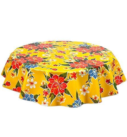 Round Freckled Sage Oilcloth Tablecloth in Hawaii Yellow - You Pick the Size! by Freckled Sage Oilcloth Products