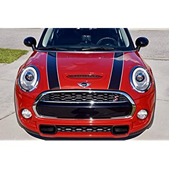 2007-2013 The Pixel Hut gs00071 Black with Red Border Hood Stripes for MINI Cooper and S R56