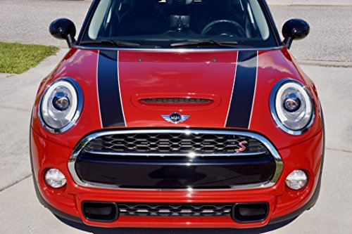 Mini Bonnet Stripes - The Pixel Hut gs00144 Black with White Border Hood Stripes for MINI Cooper and S Hard Top F56 (2014 - Present)