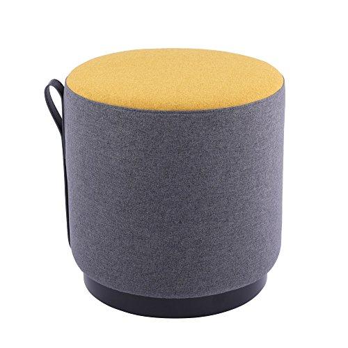 Sunon Round Pouf Ottoman, Wooden Leg Upholstered Ottoman Stool, 16.5″ 16.5″ 16.5″ Round Tufted Ottoman Stool Fabric Stool (Yellow) Review
