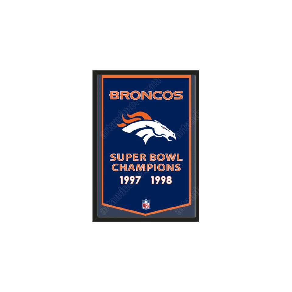 Dynasty Banner Of Denver Broncos Framed Awesome & Beautiful Must For A Championship Team Fan Most NFL Team Dynasty Banners Available Plz Go Through Description & Mention In Gift Message If Need A different Team   Sports Fan Wall Banners