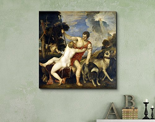 Venus and Adonis by Titian Print Famous Painting Reproduction