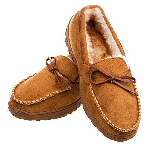 Plush Lining - Men's Moccasin Slippers Warm Comfortable Memory Foam Plush Lining Anti Slip Indoor Outdoor Driving Loafers Shoes (11 M US Men, Light Brown)