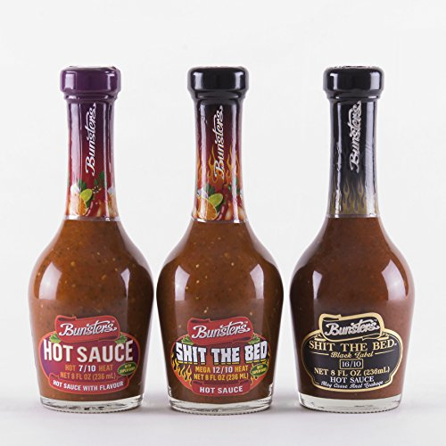 Bunsters Hot Chili Pepper Sauce - 3 Pack Set - Including Shit the Bed Hot Sauce, 8 fl oz by Bunsters (Image #3)'
