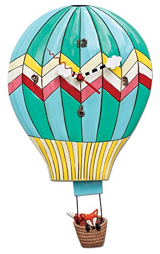 Allen Designs 'Fox Aloft' Hot Air Balloon Pendulum Clock