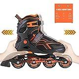 2PM SPORTS Torinx Orange Black Boys Adjustable Inline Skates, Fun Rollerblades for Kids, Beginner Roller Skates for Girls, Men and Ladies - Large (US 5-8)