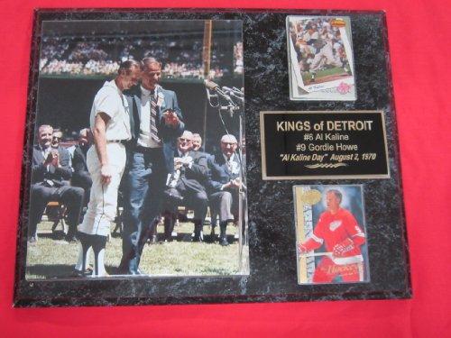 Al Kaline Gordie Howe Detroit 2 Card Collector Plaque w/8x10 Photo from Al Kaline Day 1970!