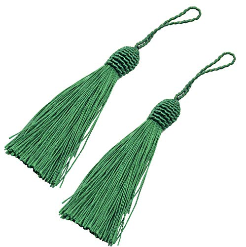 (Makhry 20pcs 15.5cm/6 Inch Silky Floss Bookmark Tassels with 2-Inch Cord Loop and Small Chinese Knot for Jewelry Making, Souvenir, Bookmarks, DIY Craft Accessory (Dark Green))