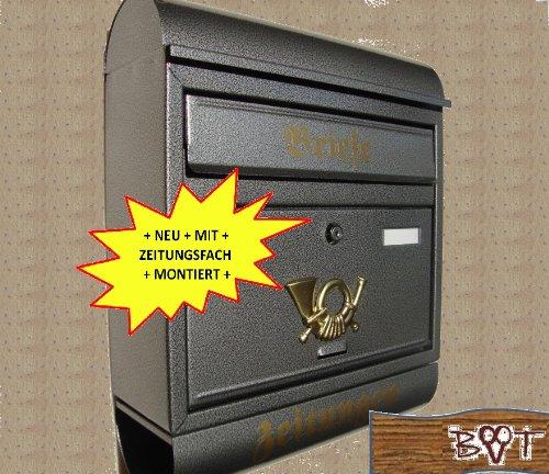 Briefkasten Runddach edel messing gold goldfarben Zeitungsfach Zeitungsrolle PostkastenR//m
